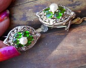 Chrome Diopside, Cultured Pearl, Damonds  Sterling Silver Post Earrings with Secure Ear Clip
