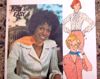 Butterick 4042 Womens 70s Front Button Tie Blouse  Sewing Pattern Size 8 Bust 31 1/2