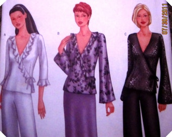 Butterick 6823 Women's 2000s Women's Wrap Top Skirt and Pants Sewing Pattern Bust 31 32 34