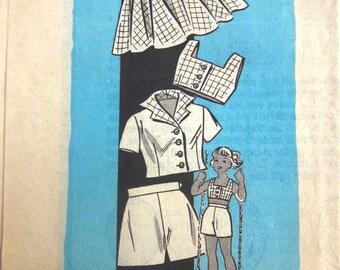 Vintage 1950s Prairie Farmer 9192 Girls Bra Shorts Jacket Sewing Pattern Breast 28 Size 10