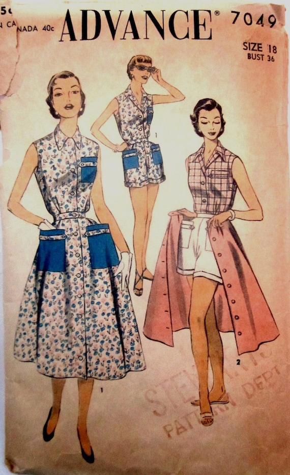 Vintage 1950s Advance 7049 Womens Three Piece Playsuit Dress Blouse