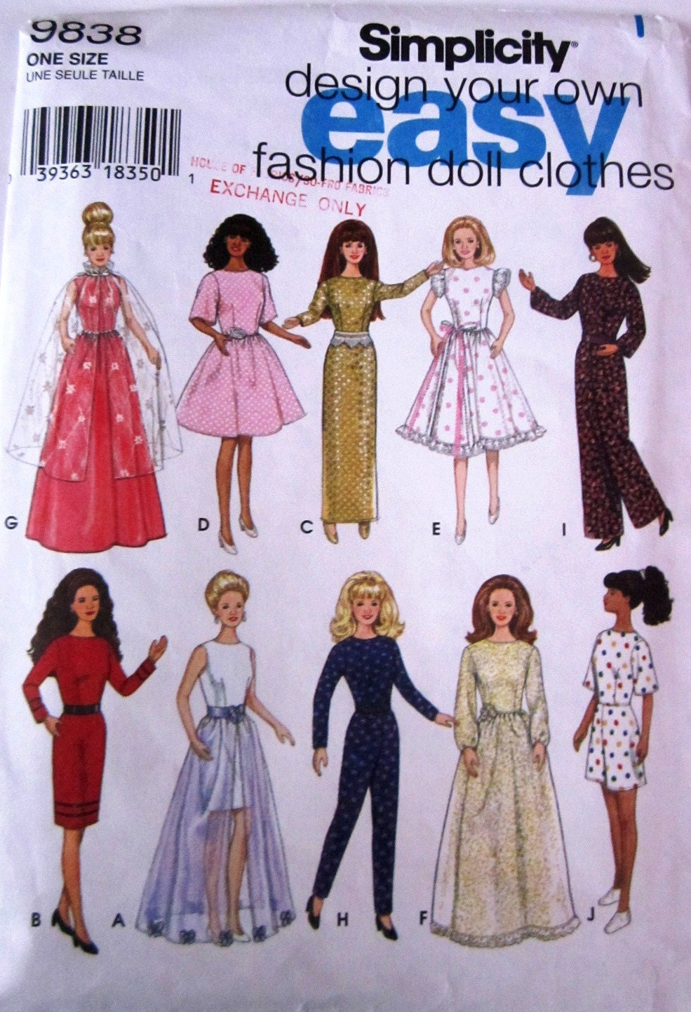 Simplicity 9838 Barbie Doll Clothes Pattern