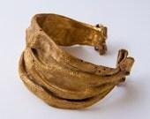 Golden Rag Bracer, Brass Bracer, brass bracelet, heavy bracer
