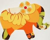 Splashy Rose Iron or Sew On Fabric Elephant Applique Sandi Henderson Fabric