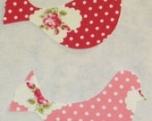 Red Pink Rosie Dot Iron or Sew On Bird Appliques