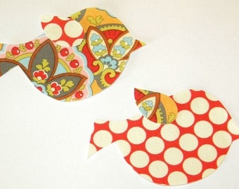 Star Paisley and Polka Dot Iron or Sew On Bird Fabric Applique Set Amy Butler Fabric