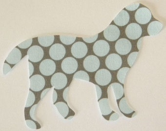 Polka Dot Iron or Sew On Fabric Dog Applique Amy Butler Fabric