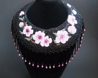 SALE 25% OFF - Bead Embroidery Pink Black Bead Embroidered Necklace Sakura -Cherry Blossoms Bead Embroidery Art Neck Piece