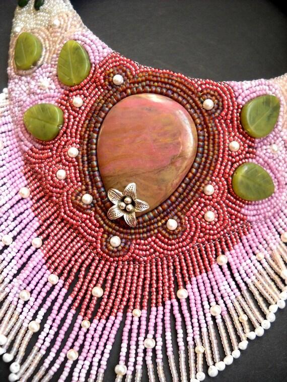 SALE 25% OFF - Bead Embroidery Necklace Pink Cherry Mauve Art Neck Piece La Primavera - Springtime Symphony