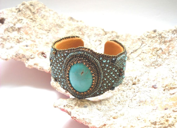 RESERVED for ATC 1st layaway - Medusa - Bead Embroidery Bracelet Cuff with Turquoise