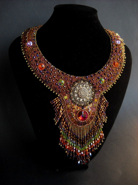 Sparkling Seduction - Iris Gold Bead Embroidery Art Neck Piece with Swarovski Crystals