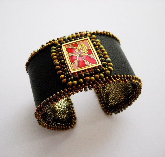 RESERVED Hibiscus - Bead Embroidered Leather Cuff with Laurel Burch Cloisonne Tile