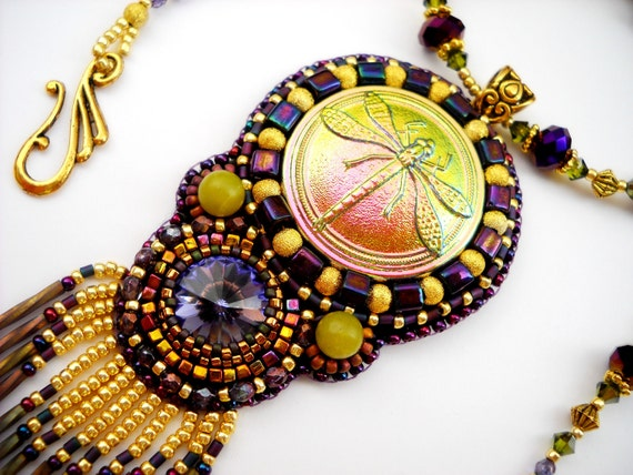 RESERVED for hgbm - Bead Embroidery Necklace Purple Gold Bead Embroidered Swarovski Dragonfly