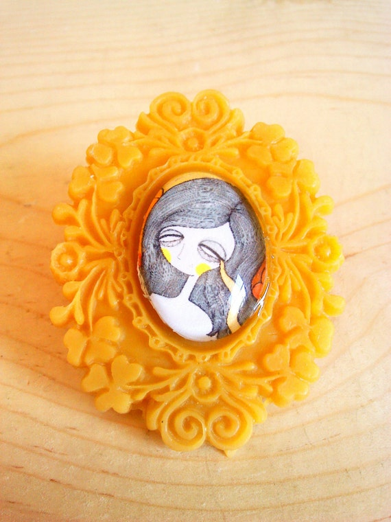 Yellow Crying Girl brooch