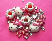 Hello Kitty Butterfly Donut  Pearl and Rhinestone Lot
