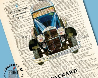 "Vintage car poster, dictionary art print, Packard, printed on a 6""x9.5"" antique 1852 French-English dictionary page"