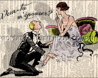 """Original art, vintage 20's style illustration """"Will you marry me"""" printed on an antique 1852 French-English dictionary page"""