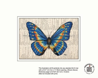 Original art, blue butterfly printed on an 1852 French-English dictionary page