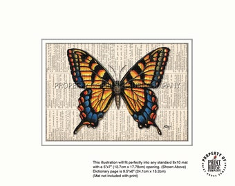 Original art, Monarch butterfly printed on an 1852 French-English dictionary page
