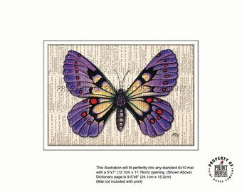 Original art, purple butterfly printed on an 1852 French-English dictionary page