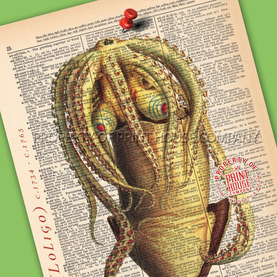 "Squid, Dictionary Print, Vintage Natural History Illustration, Printed on an 8""x11"" Antique Dictionary Page."