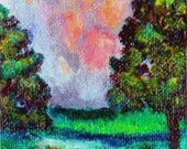 Pink and Turquoise Thunderstorm - ACEO Original Painting