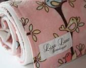 Cream Minky Baby Blanket with Flannel Bird Print
