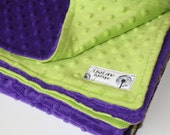 Lime Green and Purple Double Sided Minky Baby Blanket