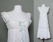 Reserved for aravis413 Reserved antique robin's egg blue ribbon tie white crochet & eyelet lace chemise dress (M)