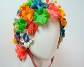 vintage Speedo swim cap - 3D flowers with chin strap