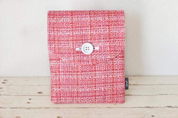"iPad Case, iPad Sleeve, iPad Cover - ""Bubble Gum"" - Padded with Pocket & Button - Pink Tweed- iPad Air Case"