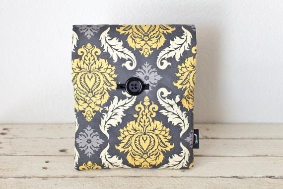 iPad Air 2 Case, iPad Sleeve, iPad Cover - Padded with Pocket - Grey Yellow Damask- iPad Air Case