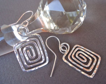 "Sterling Silver Earrings Greek Key  ""Artemis"""