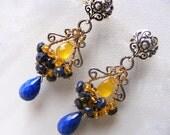 Christmas sale lapis lazuli earrings drop earrings cluster earrings gemstone earrings dangle earrings beadwork earrings December birthstone