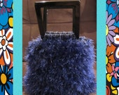 Funky Handmade Handbags - Small - Colorful Blue - Cotton & Fun Fur Bag in Sapphire Blue With Acrylic 5x5 Handles