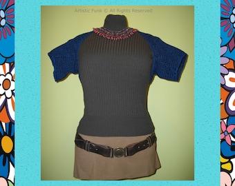 Shrugs Boleros Vests , Handmade Shrugs And Boleros , Shrug , All Season Navy Shrug Handcrafted 100% Cotton Navy with Black