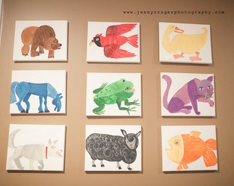 Artist Rendition of Eric Carle's Brown Bear Brown Bear, What Do You See- Set of 9, 8x10 canvases