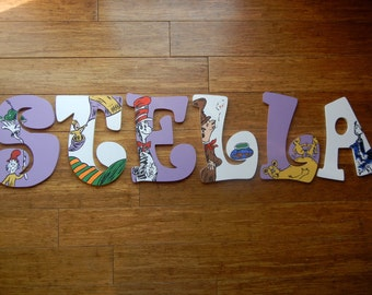 Dr Seuss inspired hand painted wooden wall letters, Horton Hears a Who, One Fish Two Fish, Places You'll Go, Hop on Pop, Green Eggs and Ham