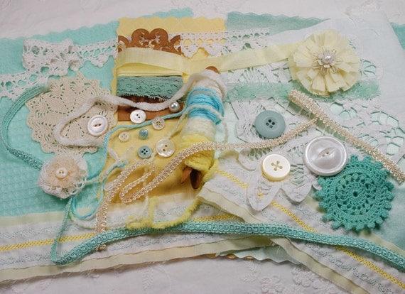 Light Lemon and Aqua  - Textile & Embellishment Collection No15