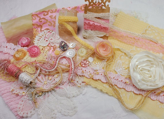 RESERVED for Denise. Neapolitan Collection. Pink Lemonade - Textile/Embellishment Collection. Warm yellows, antique gold and pinks. No 71a