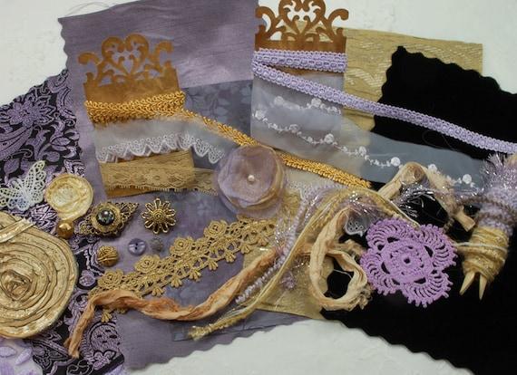 RESERVED for LaShell. Inspiration Kit. Hyacinth - Textile/Embellishment Collection. Grey Lavender, antique golds & black. No 69c
