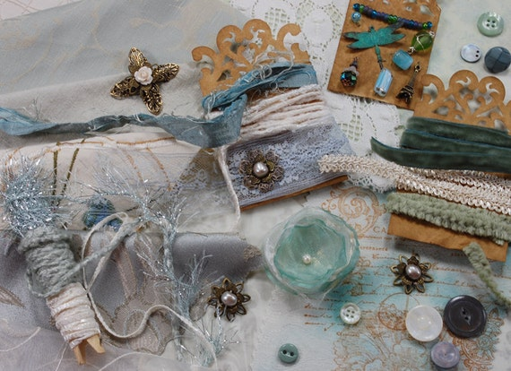 Inspiration Kit. Neapolitan Collection. Morning Dew - Textile/Embellishment Collection. Pale icy blue, pale sage green, off white. No 72b