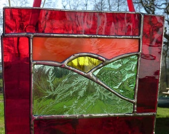 Sunset and Fields stained glass light catcher MTO