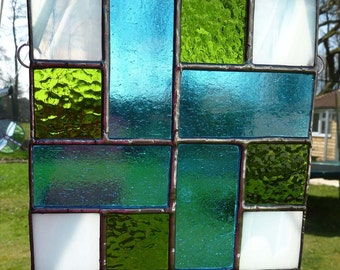 Coptic Cross Green and Blue - stained glass light catcher