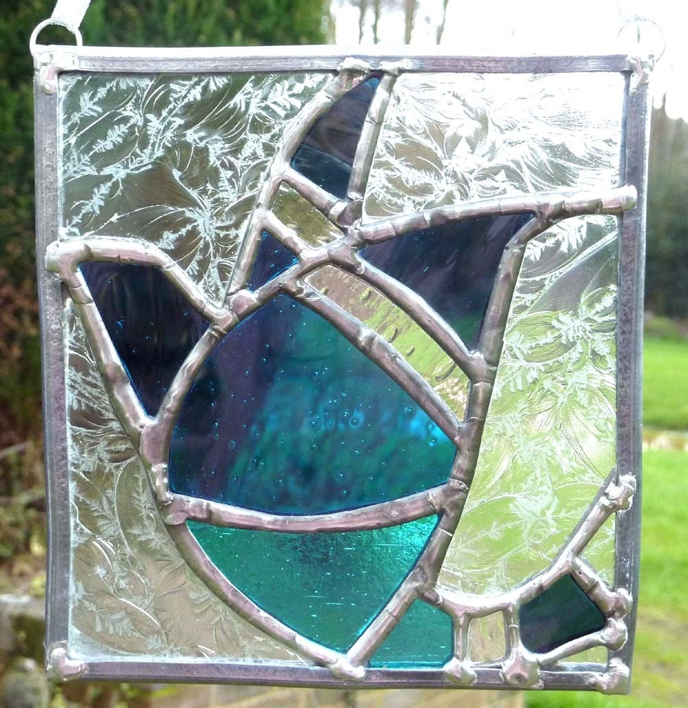 Arts and crafts stained glass panel with blue by sugarlipsglass
