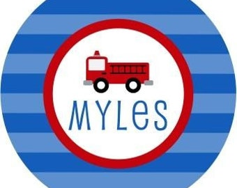 Personalized Fireman and/or firetruck Melamine Plate