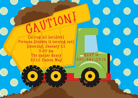 Dump Truck and Construction Digital Invitation