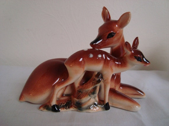 Ceramic Doe and Fawn