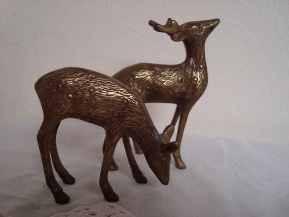Brass Deer Pair