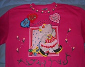 Girls Valentine's Day Tshirt Size Youth XL Deep Pink Valentine Card Kitty with Balloons